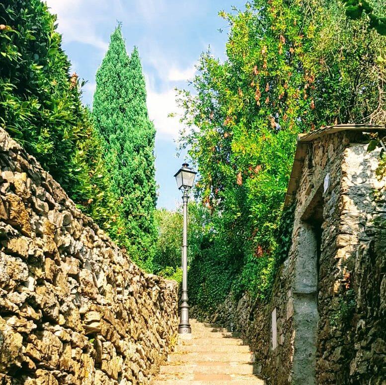 Una leggera salita che porta a Chiavari, lungo la Via della Costa, immersi nella natura. Liguria, Italia.
